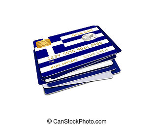 greek credit cards over white - greek credit cards isolated...
