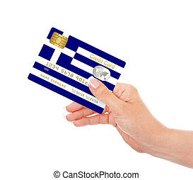 greek credit card holded by hand isolated over white...