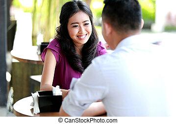 woman look happy talking with her boyfriend - pretty