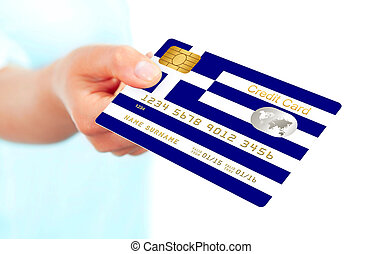 greek credit card holded by hand isolated over white. focus...