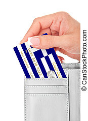 hand holding greek credit card in wallet isolated over white...