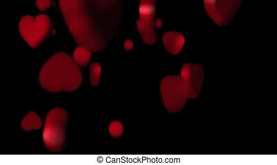 Hearts floating around heart shape - 3D hearts floating...