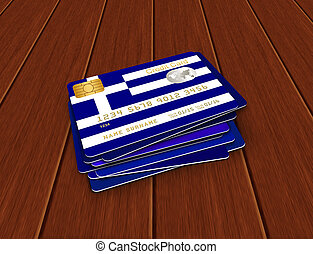greek credit cards lying on wooden desk