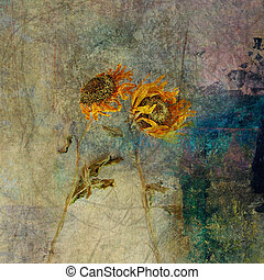 Blown Sunflowers - Photo based illustration of wind blown...