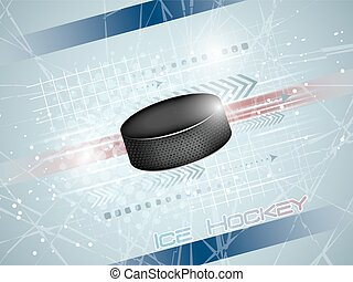 Hockey puck on the ice, vector illustration - Hockey puck on...