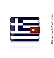 wallet with greek flag over white - wallet with greek flag...
