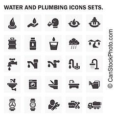 Water icons - Water and plumbing icons sets.