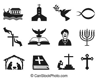 black christian religious icons set - isolated black...