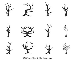 black dead tree icons - isolated black dead tree icons from...