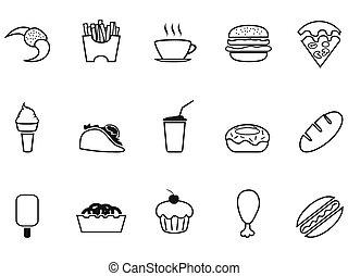 junk food fast food outline icons set