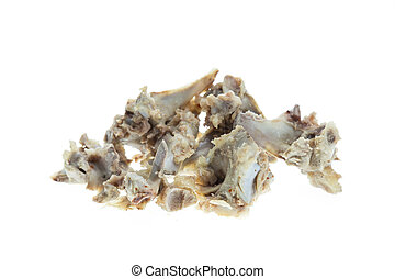 Pile of pork bones on white background - Close up pile of...