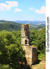 abandoned bell tower - bell tower ruins in Monterano ancient...