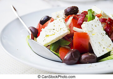 Greek Salad - Close up of greek salad in the bowl