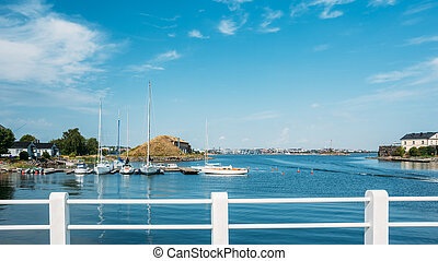 Harbour And Quay Yacht In Summer Day. Helsinki, Finland. -...