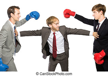 competition of two businessmen wearing boxing gloves with...