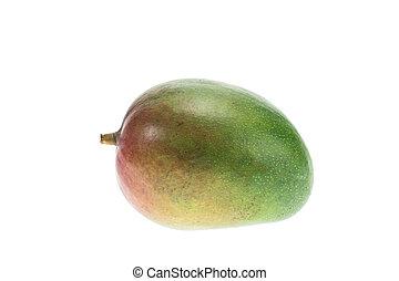 Close up big Thai mango isolated on white background