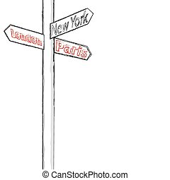 street sign showing cities - london paris new york sample