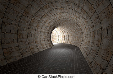 3d tunnel - 3d rendering of an old stones tunnel