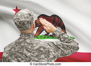 Soldier saluting to US state flag series - California