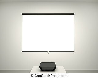 3d illustration of the presentation screen and a projector for conference