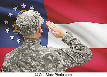 Soldier saluting to US state flag series - Georgia