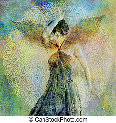 Concealed Empath - Woman with ephemeral wings shielding her...