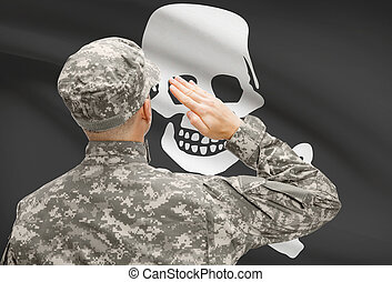 Young soldier saluting to flag series - Jolly Roger -...
