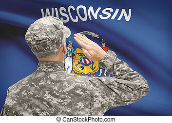 Soldier saluting to US state flag series - Wisconsin -...