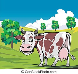 Cows in a meadow green background - A cow with milk that is...