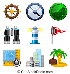 Travel and navigation icons isolated on a white background...