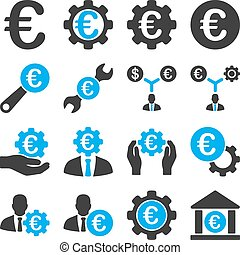 Euro banking business and service tools icons These flat...