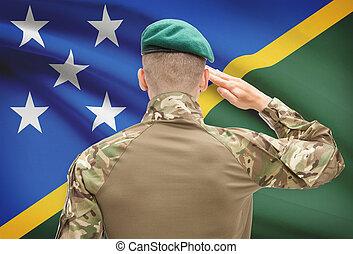 fuerzas, serie, nacional, -, bandera, Solomon, Plano de...