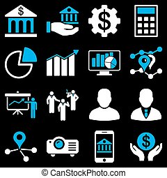 Banking business and presentation symbols. These flat...