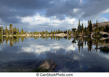 Sierra Nevada Lake Reflection - Sierra Nevada trees,...