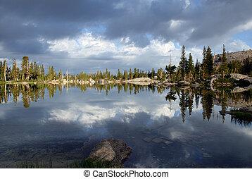 Sierra Nevada Lake Reflection - Sierra Nevada trees,...