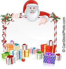 Christmas Sign - Santa Christmas Sign with cartoon Santa...