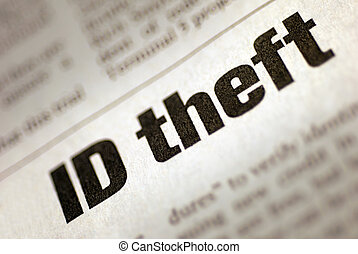 Identity Theft - Black and White Newspaper Headline stating...