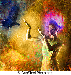 Negative Thought - Woman with light crown gesturing towards...