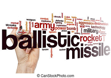 Ballistic missile word cloud concept with rocket bomb...