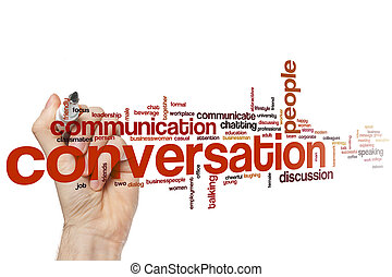 Conversation word cloud concept with communication...