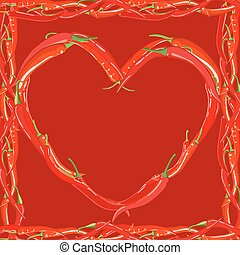 Heart made of red hot chili peppers vector illustration