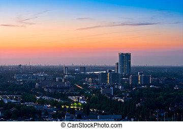 Panorama of Bonn after sunset - Panorama of the German city...