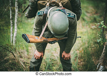 Unidentified re-enactor dressed as German soldier during...