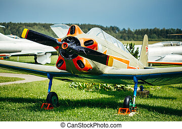 The Yakovlev Yak-18 Soviet tandem two-seat military primary...