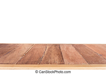 Top wooden table isolated on white background - Close up top...