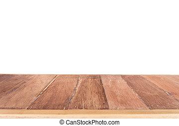 cima, de madera, tabla, aislado, en, blanco, Plano de fondo,...
