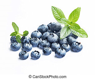Blueberries with Mint Leaves Isolated - Blueberries Isolated...