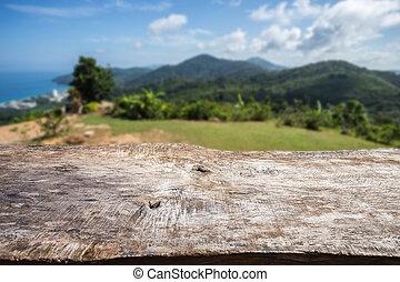 viejo, madera, tabla, cima, y, vista, de, Océano,