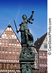 Lady Justice in Frankfurt - Statue of Lady Justice in...