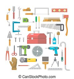 Flat design of wood work items set illustration vector